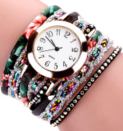 Watch color woven floral bracelet watch fashion printed woven diamond ladies circle watch factory direct