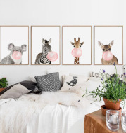 Nordic simplicity Cute koala zebra fawn canvas painting Home decoration frameless painting core Foreign trade explosion