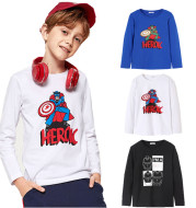 Spring new big children's T-shirt long-sleeved round neck top