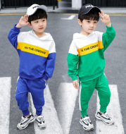 Spring new boy's suit two-piece hooded letter spelling tide
