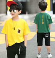 Children''s Summer Suit Boys''Summer Suit 2020 New Korean Summer Short-sleeved Cotton T-shirt for Middle and Old Children