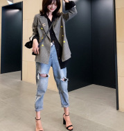 Spring new loose thin hole jeans women fashion personality light color feet pants