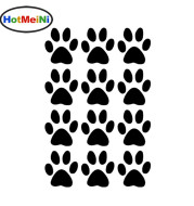 Dog name custom pet food bowl decor sticker, paws print vinyl decal free shipping