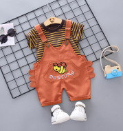 Summer denim strap shorts boys casual Korean version Shorts bee short sleeve T-shirt two-piece suit