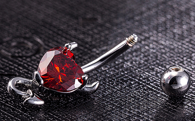 1522522760679 Devil Belly Button Ring   Heart Zircon Crystal   Navel Piercing Stainless Steel Belly Button Rings Sexy Body Jewelry