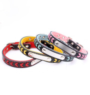 Stainless steel iron dog collar laser lettering pet with colored woven leather dog chain
