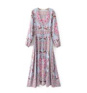 Spring and summer new European station positioning print long dress ladies print skirt