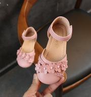 Girls half sandals flowers woven models princess shoes Korean version of the female baby slip leisure