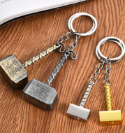 Infinite War Avengers 3 Marvel Quake Mjolnir Keychain Toy Silver Metal Thunder Odin Hammer Keychain Children's Toys