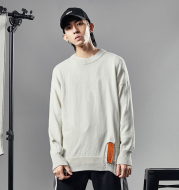 Mens Knitted Pullover Sweater Male Hip Hop Fashion Loose Sweater Streetwear Ripped Destroyed Holes Sweter 8742W