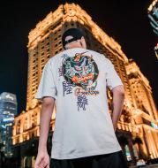Guochao brand ins printing hip hop men's oversize loose short-sleeved T-shirt