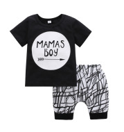 Autumn boys and girls suits summer new cotton casual short-sleeved shorts two-piece set one generation