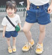 2021 summer new Korean children's clothing girls one button wild baby cuffed denim shorts