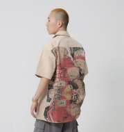 [F426 official store] Guochai brand summer American hip hop street painting graffiti tooling short-sleeved shirt T-shirt