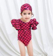 Children's Swimsuit Women Cute Cartoon Triangle Siamese New Trumpet Sleeve Fishscale Swimsuit