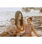 Children's swimwear ins explosion models girls Siamese pink striped princess wind lace swimsuit