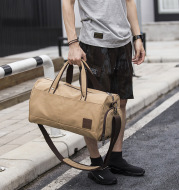 Men's canvas portable travel bag cylinder men's bag lightweight casual cross-border explosion Amazon wish