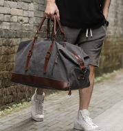 Retro canvas tote bag travel bag male fashion trend large capacity short-distance travel luggage bag shoulder bag male