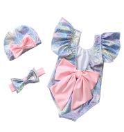 Girls Swimwear INS Explosive Swimsuit Shiny Mermaid Back Bow Conjoined