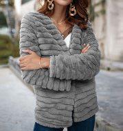 Nadafair Cardigan Fur Coat Women Long Sleeve Shaggy Autumn Winter Faux Fur Jacket 2021 Gray Rabbit Hair Outerwear Coat Female