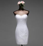 Lace shoulder beauty back wedding dress
