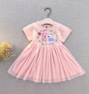 Pig pink short-sleeved princess dress