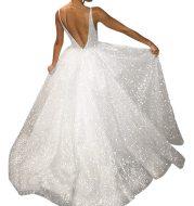 V-neck halter pure white wedding evening dress