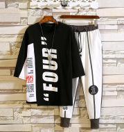 Summer Trendy Hip-hop Seven-Sleeve Men's Sportswear Fashion Student Suit Two-piece Suit