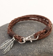 Woven multilayer leather rope bracelet