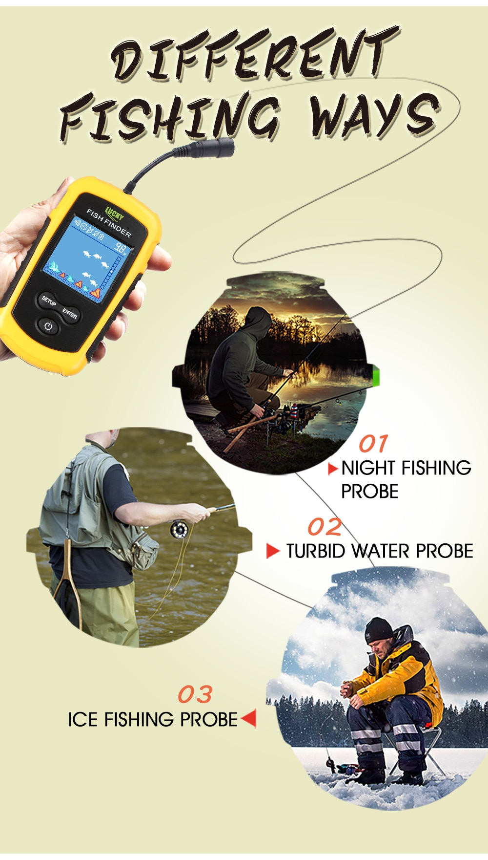 LUCKY FF1108-1 Fish finder 100m Depth Capability