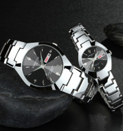 Automatic quartz non-mechanical tungsten steel couple watch