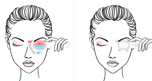 female illustration using eye massager for her eye