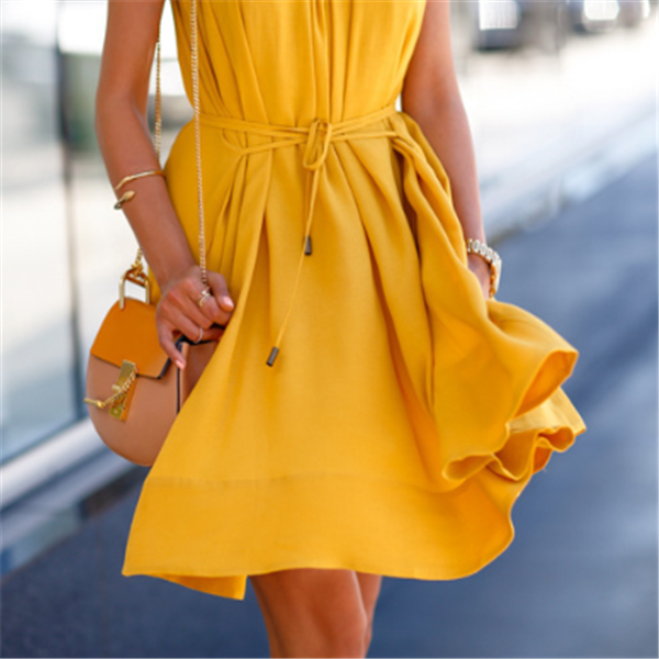 yellow dress on walking lady, forever-21