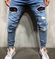 Men's jeans embroidered men's trousers