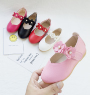 Girl's flower leather shoes