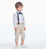 Boy's suit striped long-sleeved shirt bib