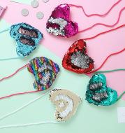 Sequined purse love lanyard shoulder diagonal package