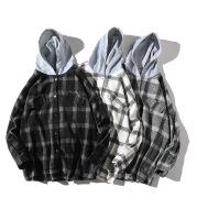 Couple plaid shirt hooded jacket