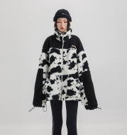 Loose stitching cowhide fluffy thick coat