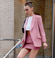 Slim pink suit high waist skirt fashion suit
