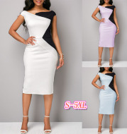Irregular contrast color slim hip dress