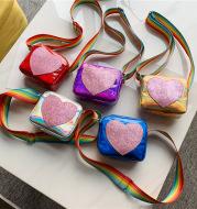 Peach heart laser baby shoulder bag