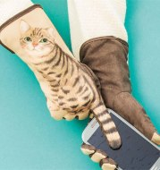 Through the tail cat touch screen touch gloves