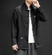 Buttoned denim jacket embroidered jacket