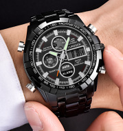 Alloy band dual display electronic watch