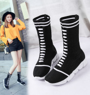 Autumn European station elastic boots knitting middle tube thick bottom sports women''s muffin bottom fashion socks shoes women''s fashion