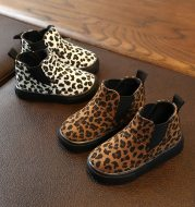 Leopard print and velvet ankle boots