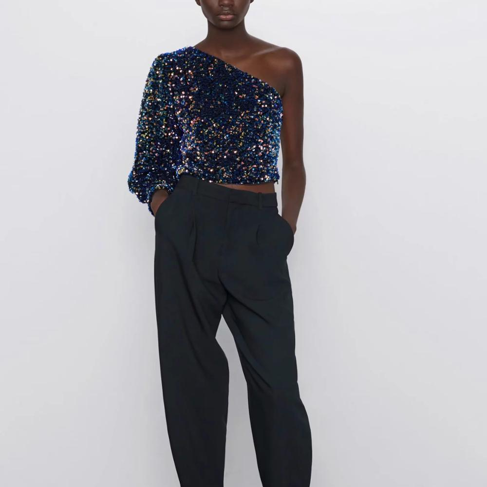 2809563796984 Sequined Asymmetric Top