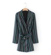 Striped print suit collar jumpsuit