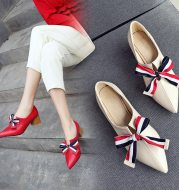 Thick heel bowknot single shoe